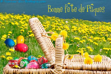 Carte Bonne Fete Paques.Joyeuses Paques Panier Dans L Herbe Ecard Bretonne